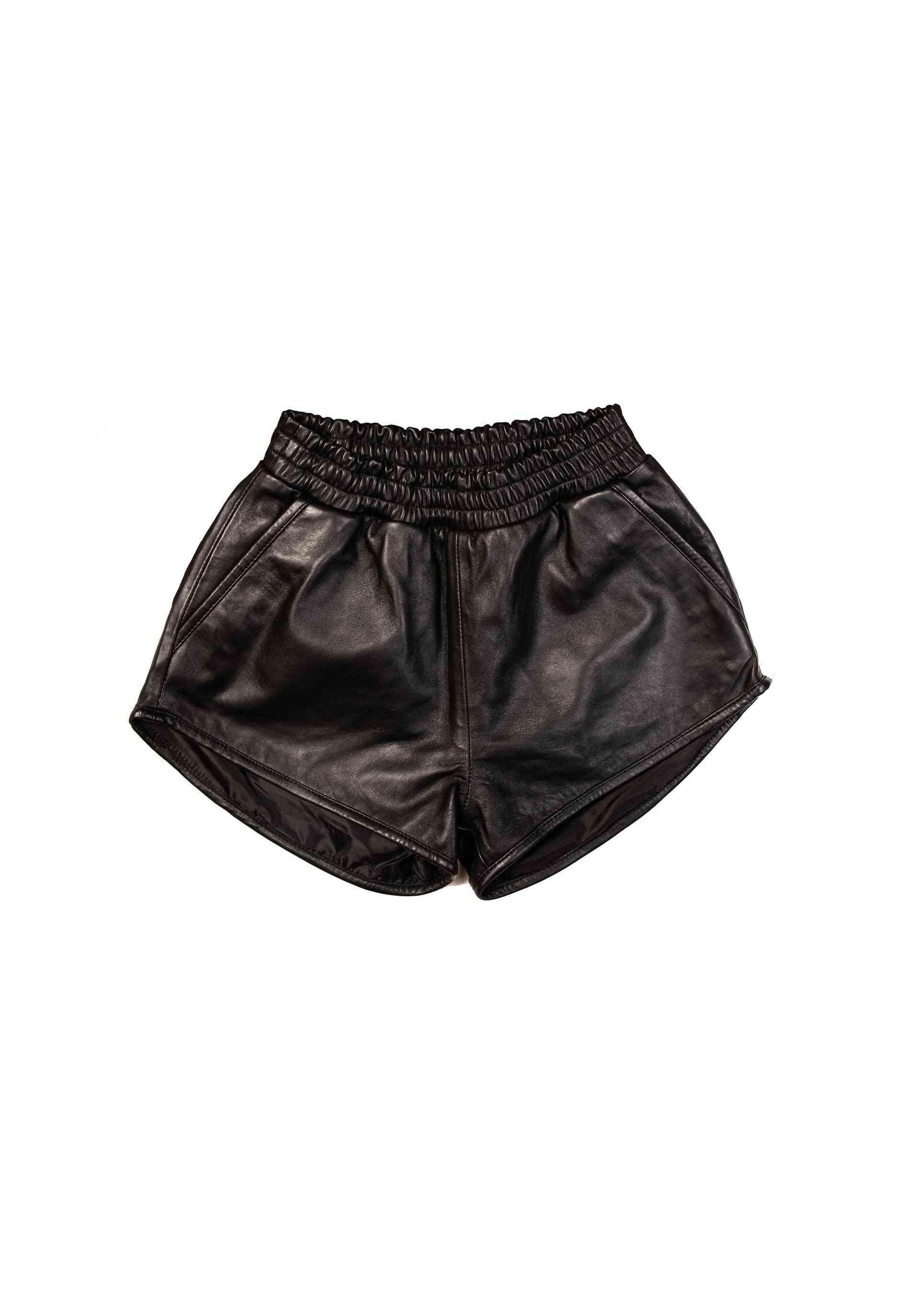 Women's Fashion High Waist Leather Shorts