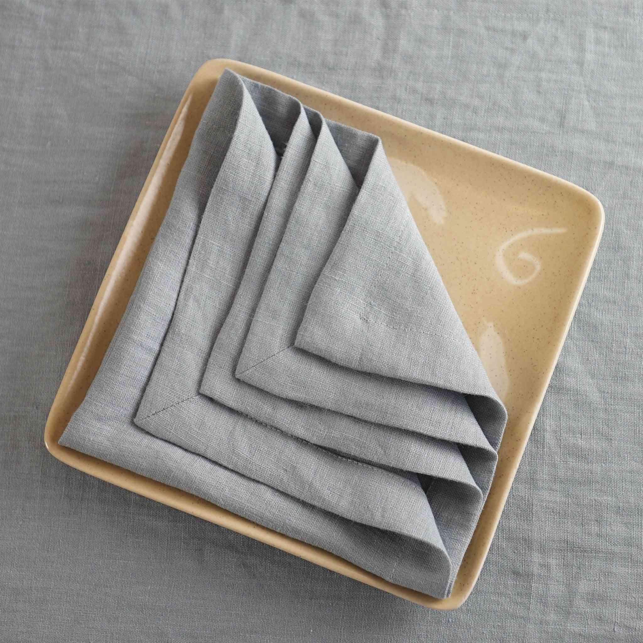 Set Of Natural Linen Napkins With Nice Hem