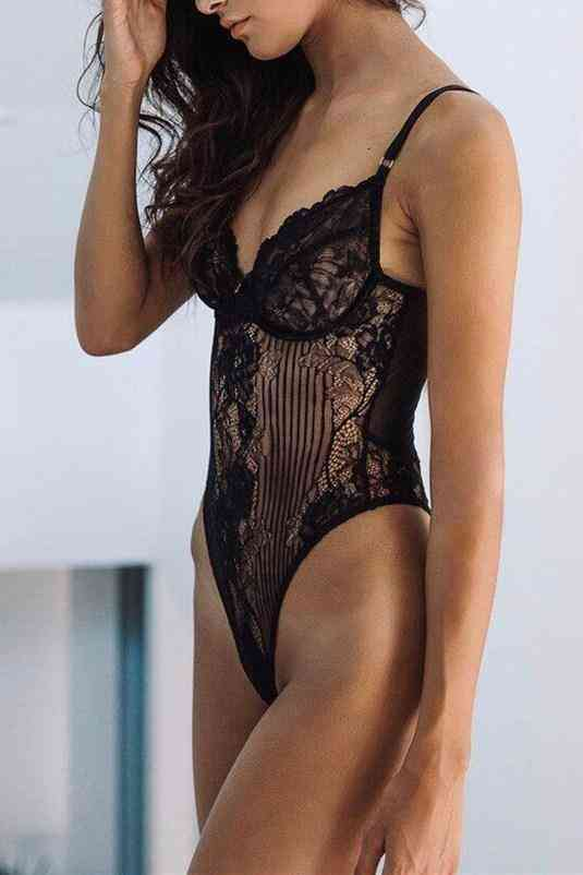 Scalloped Lace Teddy Lingerie