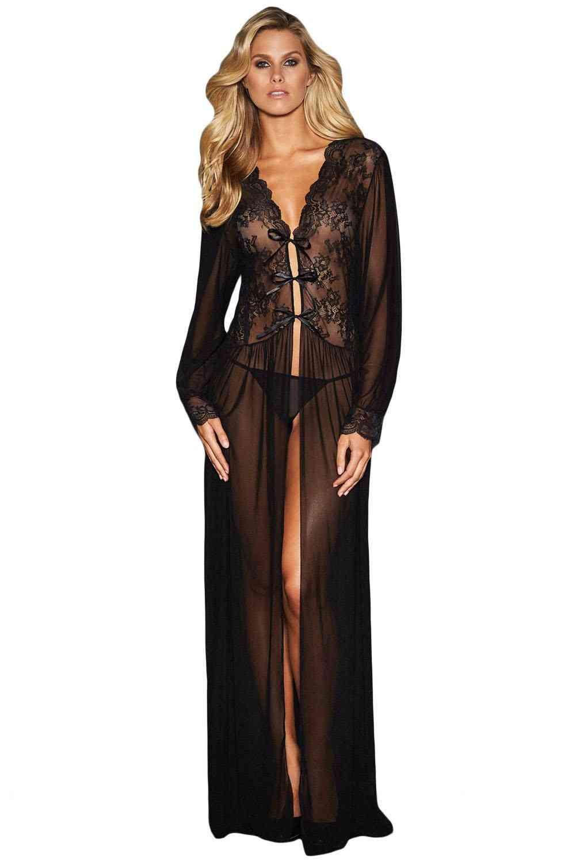 Sheer Long Sleeve Lace Robe Dress & Thong