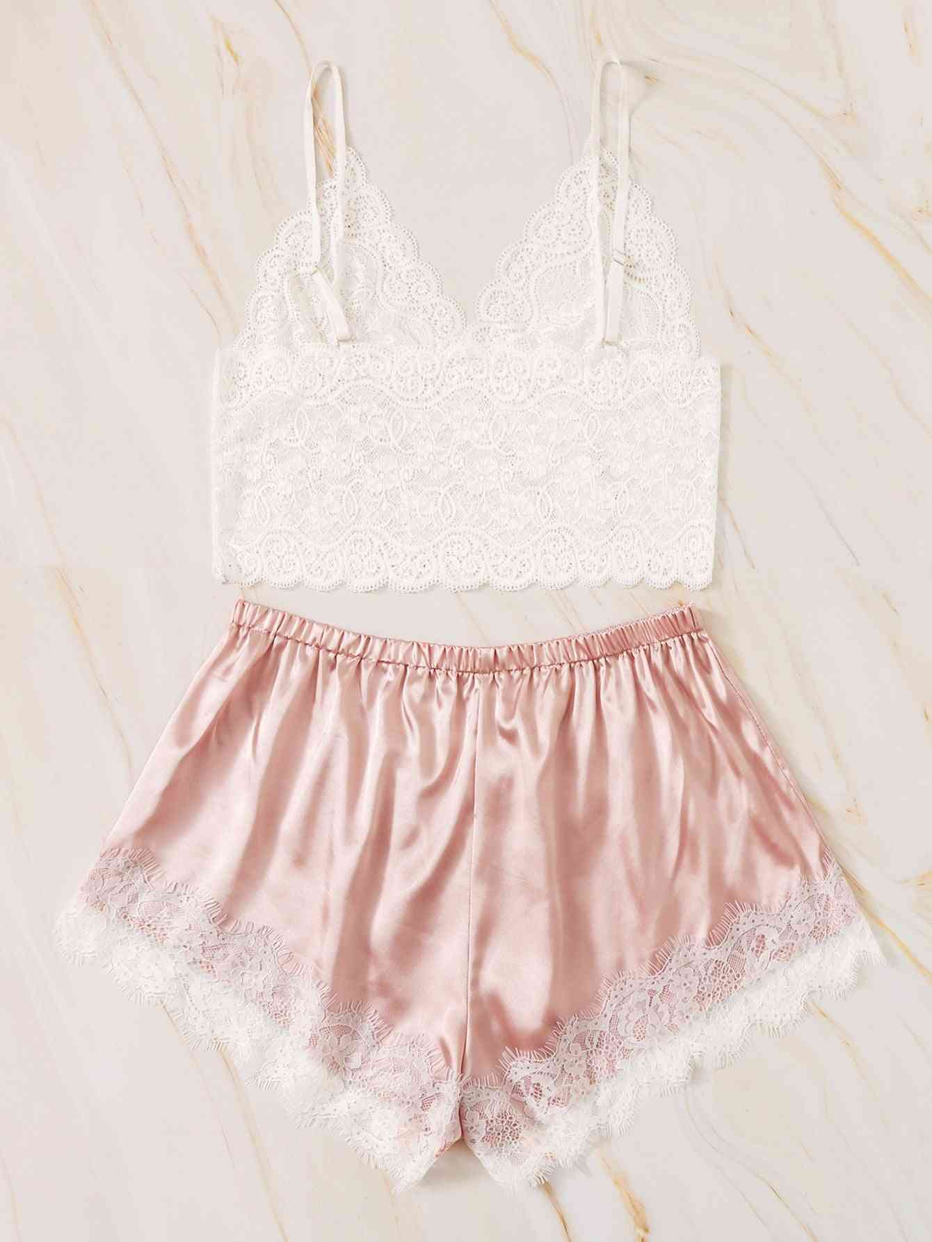 Lace Cami Top With Satin Shorts's