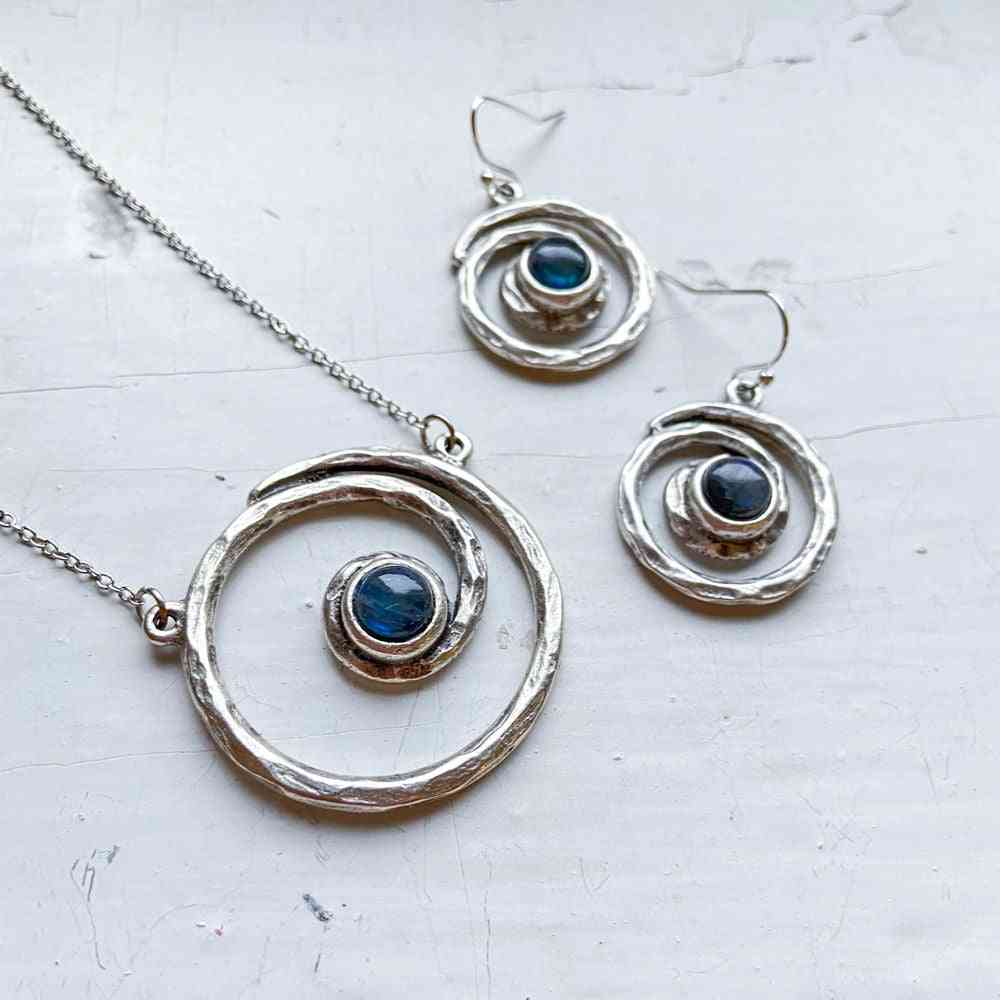 Milky Way Jewelry Set - Spiral Silver Necklace And Earrings With Labradorite
