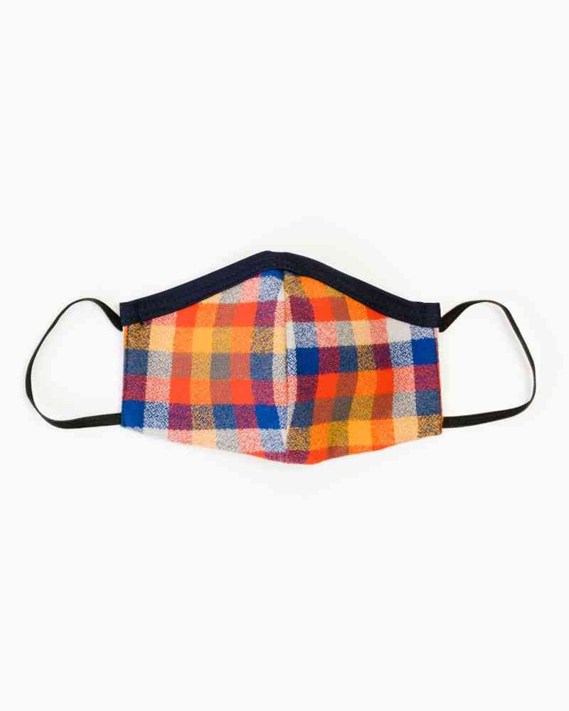 Brick And Blue Flannel Face Mask