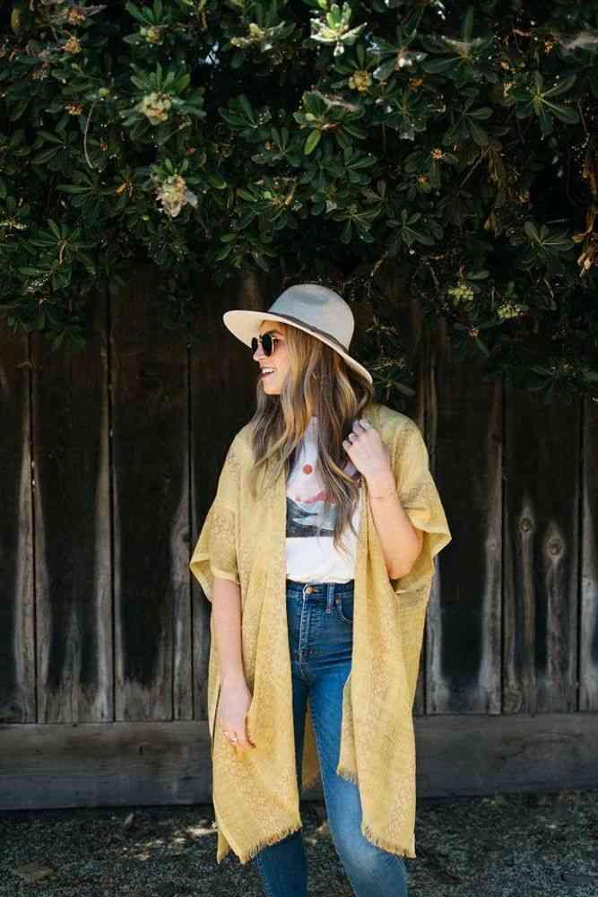 Vintage Woven Kimono Mustard