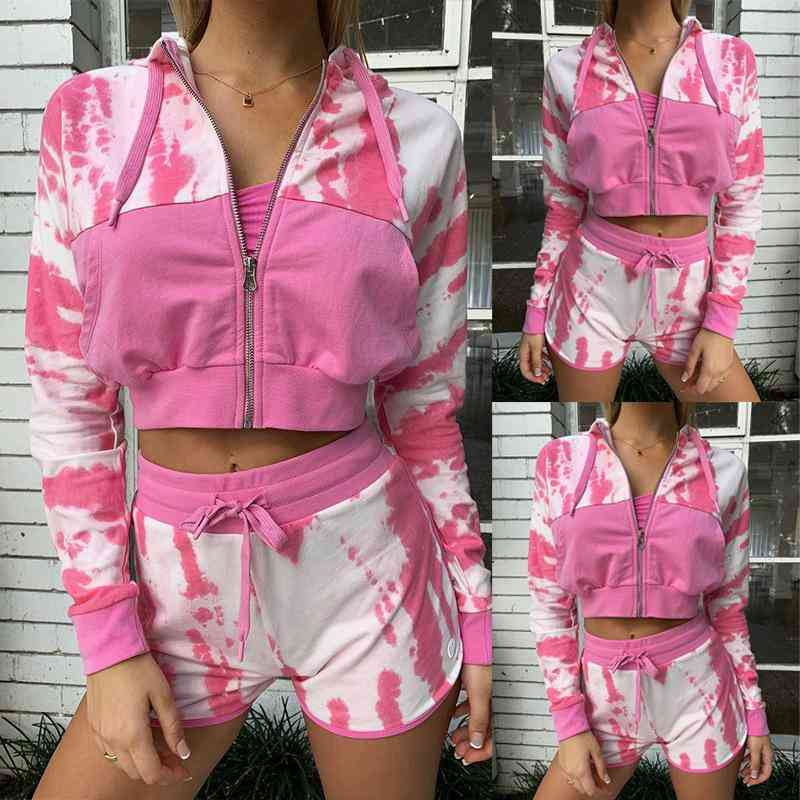 Printed Long Sleeve Crop Tops And Shorts Two-piece