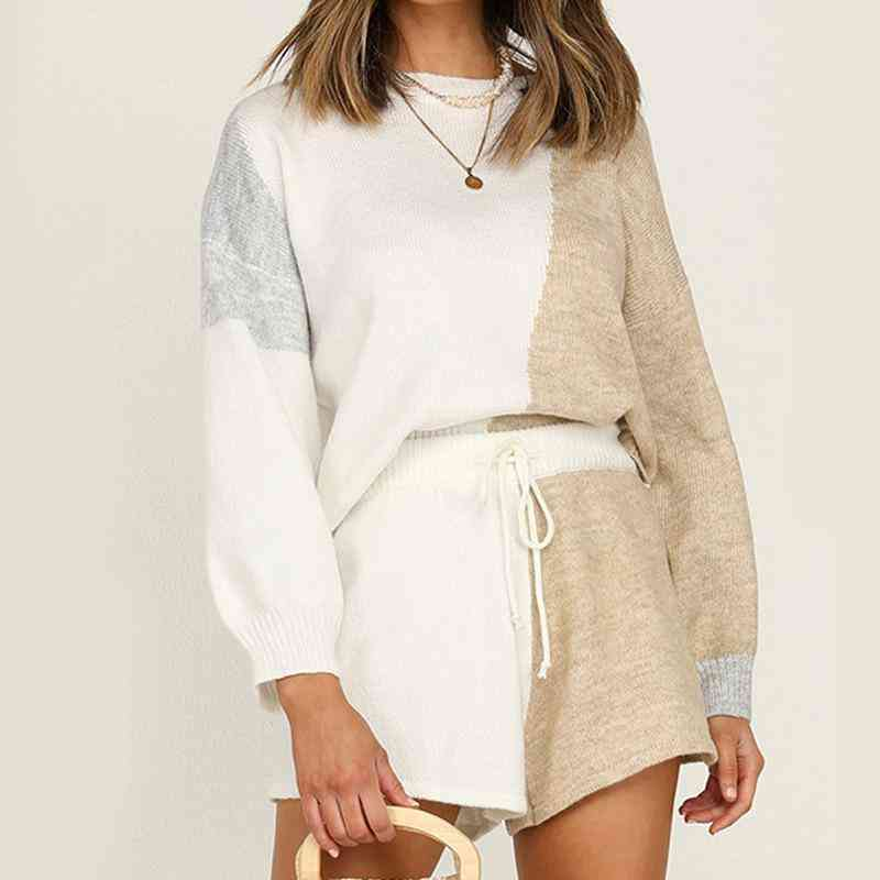 Patchwork Hit Color Long Sleeve Tops And Shorts