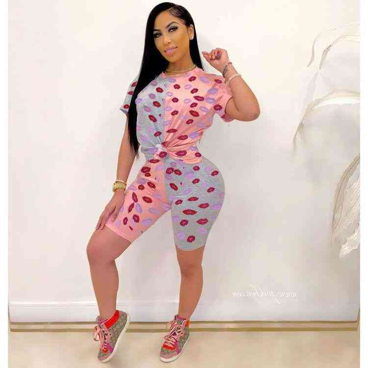 Casual Patchwork Lip Printed Tops And Shorts Set