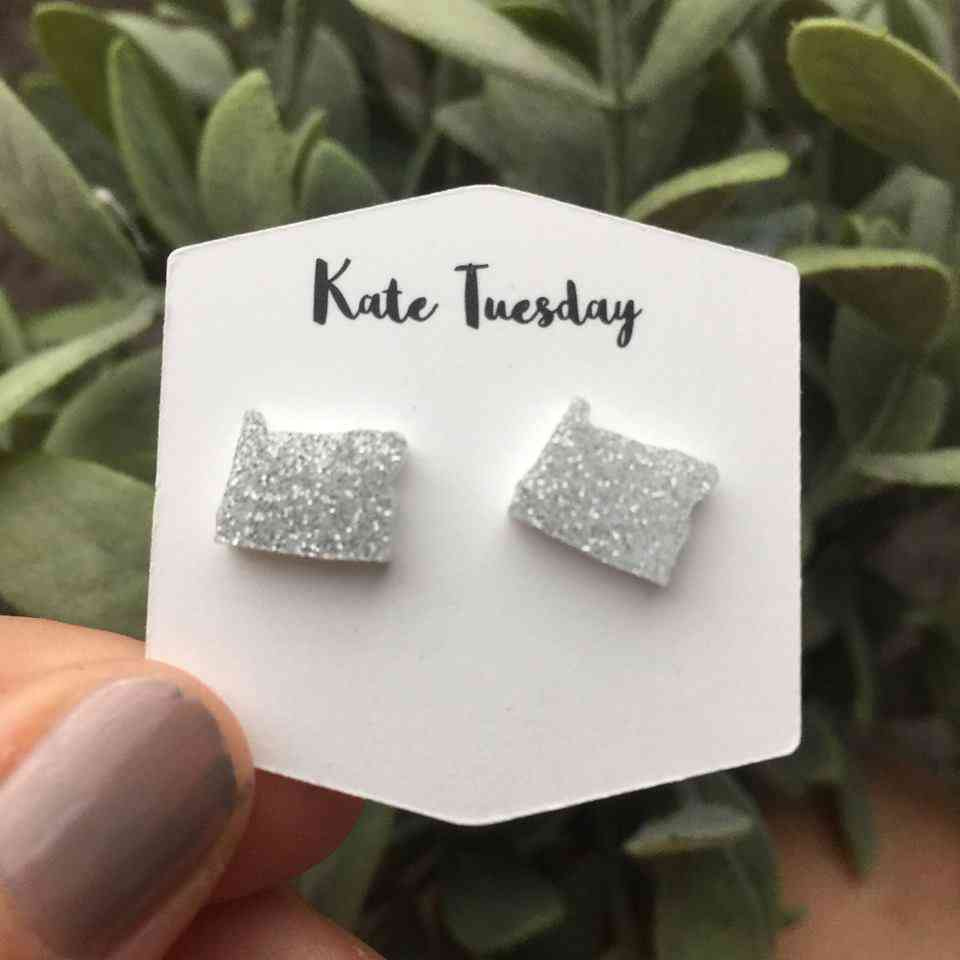Silver Sparkly Oregon State Stud Earrings