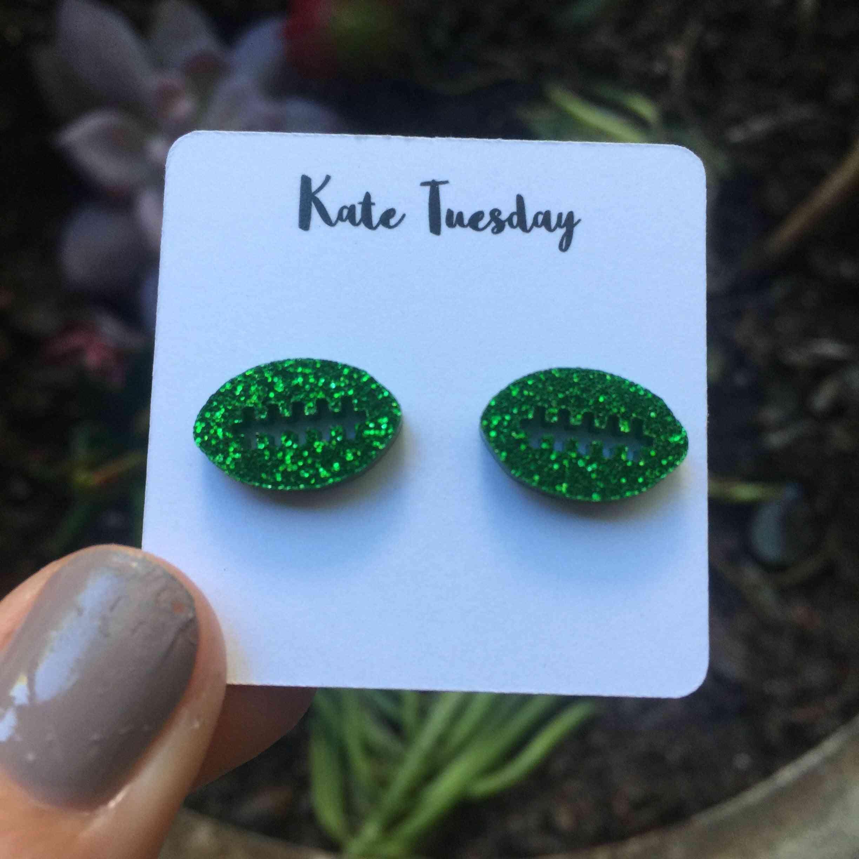 Green Sparkly Football Stud Earrings