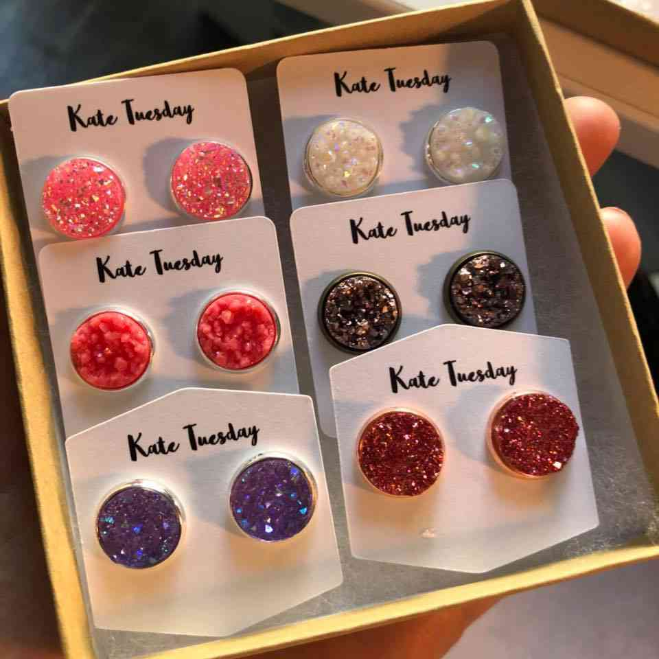 Love Set Of Reds And Purples Druzy Earring Box