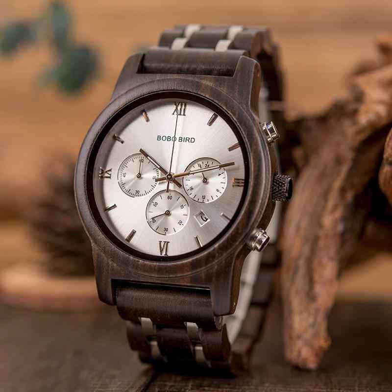 P19 Wooden Mens Quartz Watches Date Display Business Watch Man Ebony
