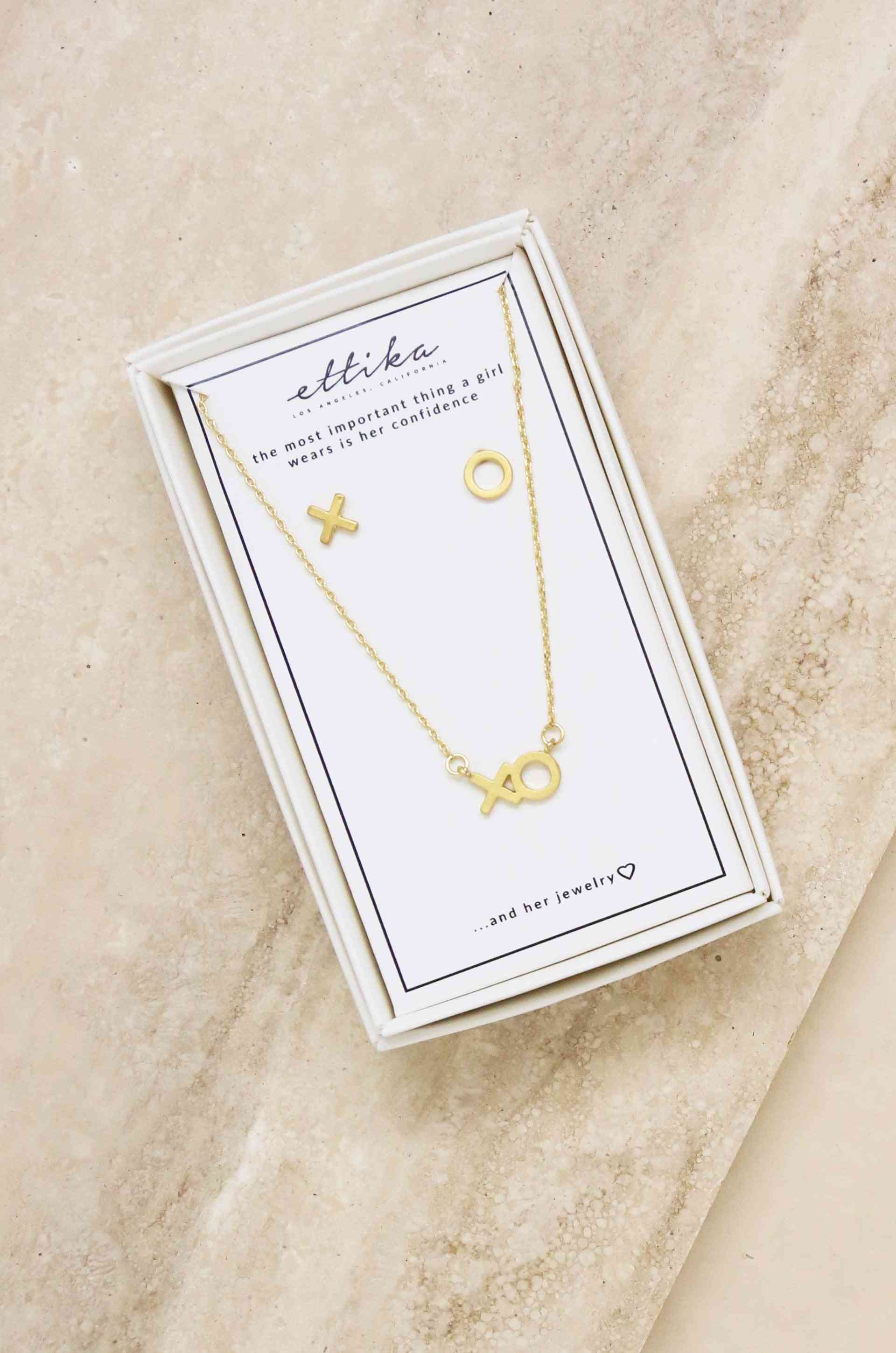 18k Gold Plated Xo Necklace & Earring Stud Boxed Set