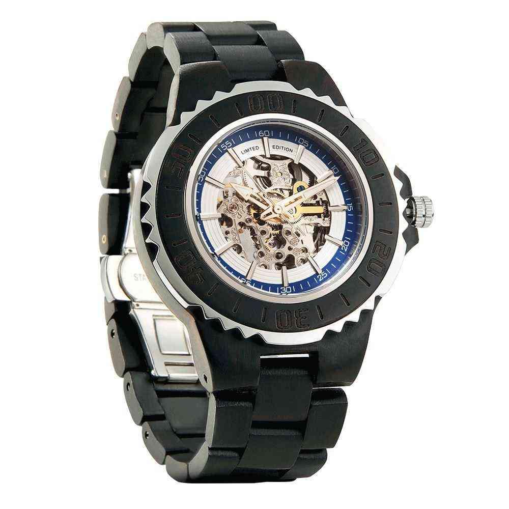 Moške prave avtomatske lesene ure iz ebenovine niso potrebne baterije