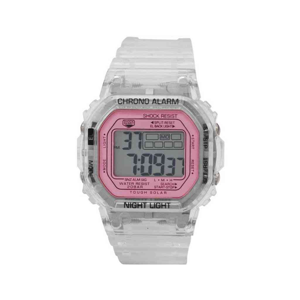 Smokey Transparent Lcd Digital Watch With Pink Dial