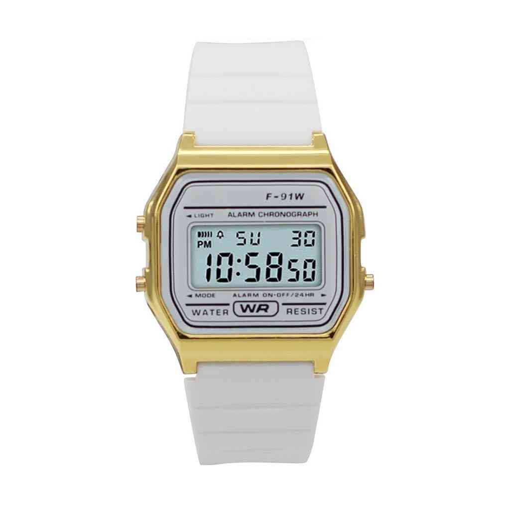 Sporty White Silicon Band -digital Watch