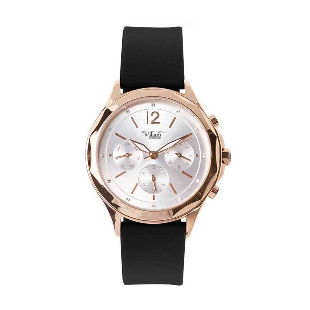 Black Silicon Strap Watch With Rose Gold Case And Silver Dial