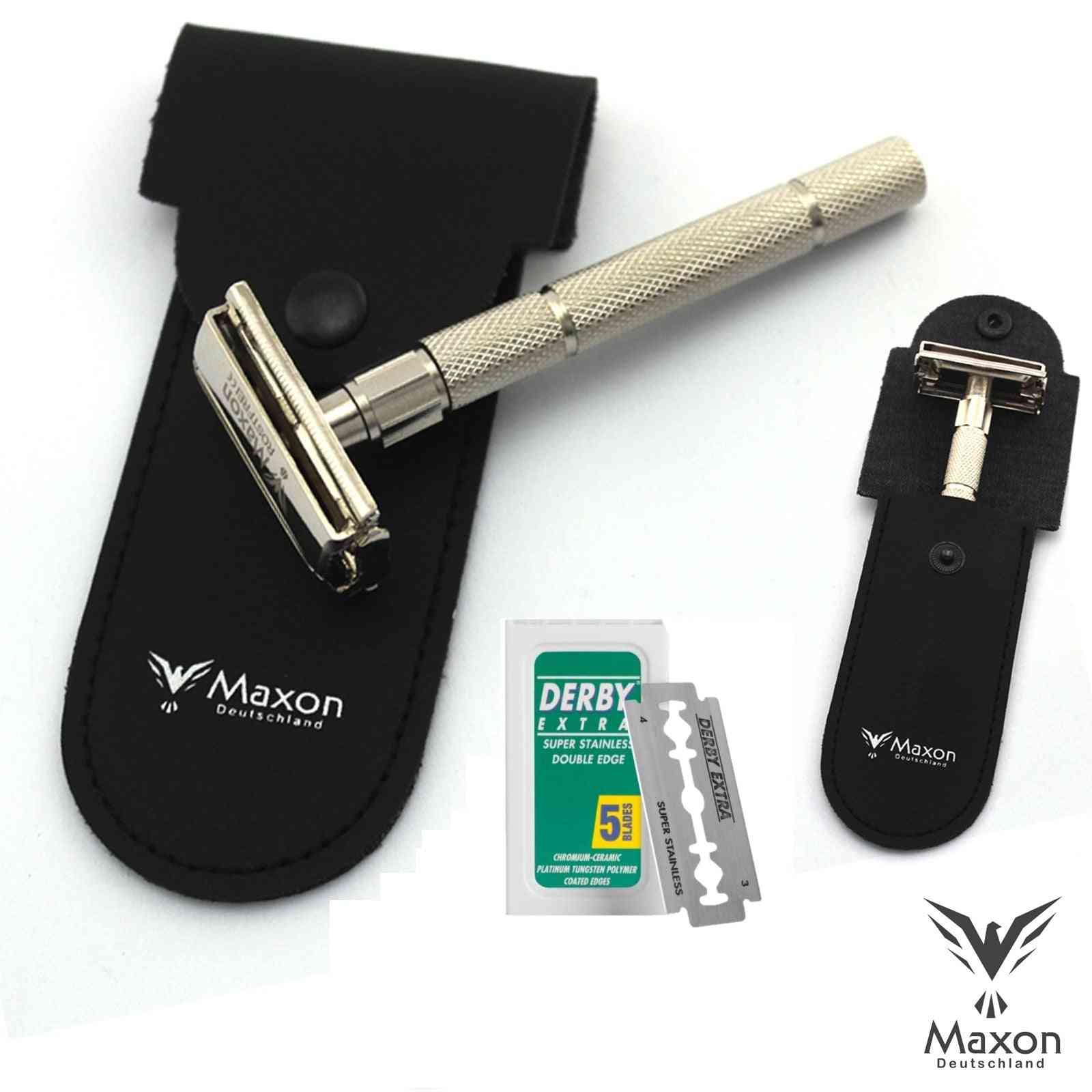 Maxon Slh Safety Razor With Blades And Leather Case