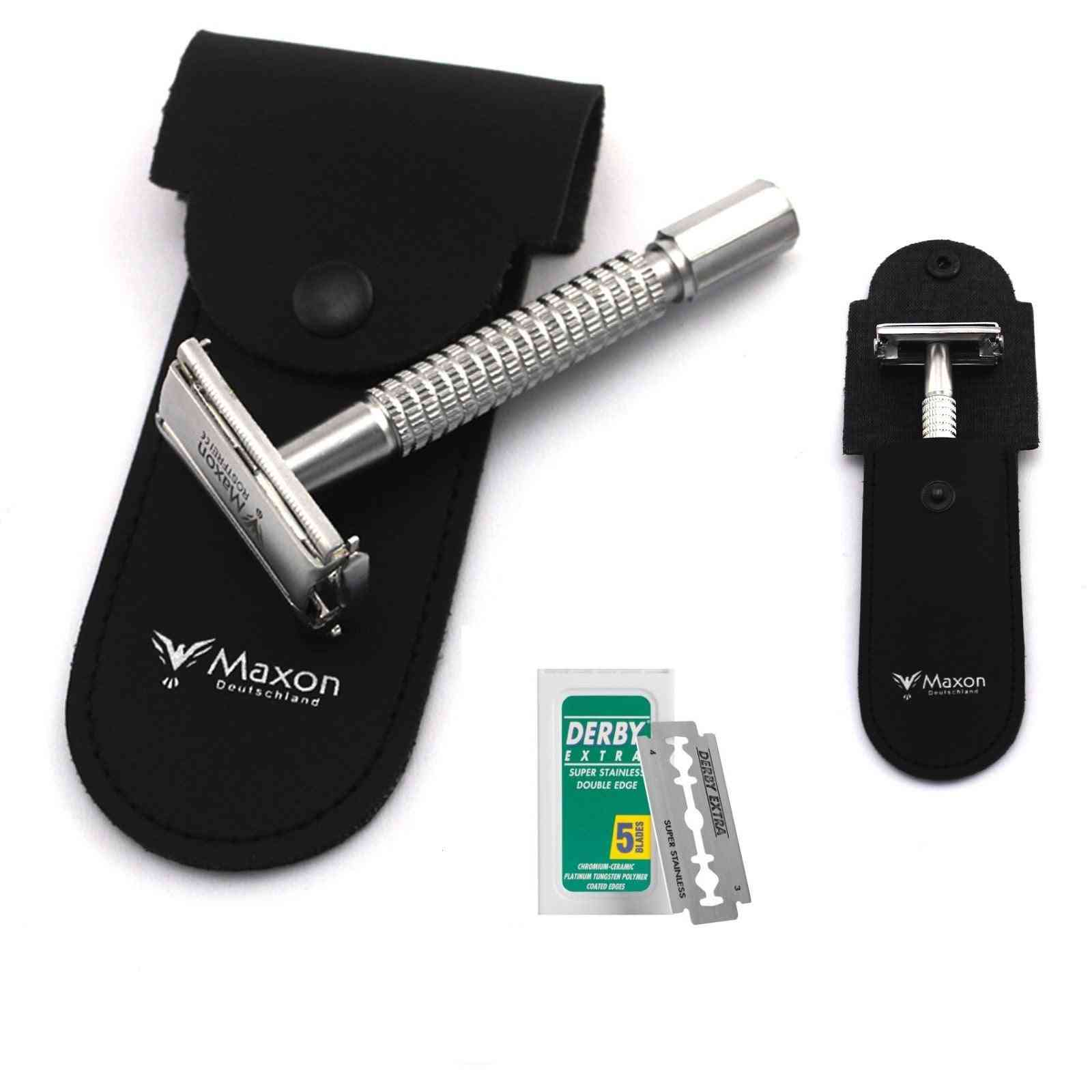 Maxon Scp Safety Razor With Blades And Leather Case