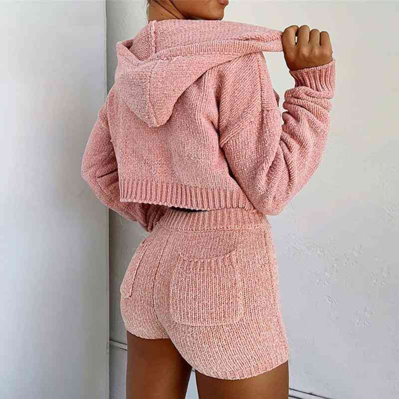 Knitted Hoodies Tops And Shorts Two-piece