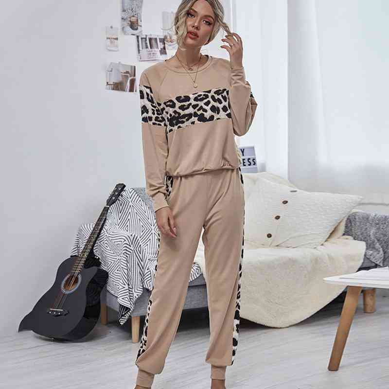Leopard Print Patchwork Tops And Long Pants Two-piece Set