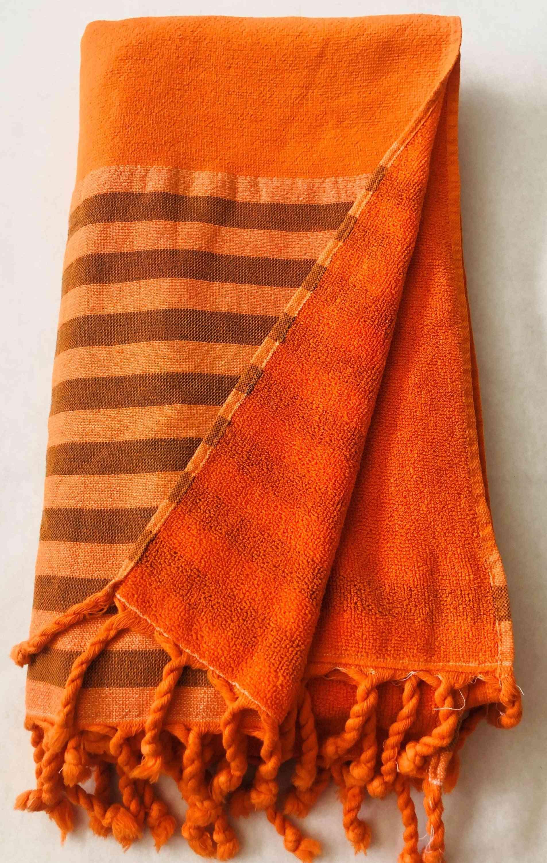 Orange Half Terry Smart Towel - 100% Natural Cotton,turkish Towel