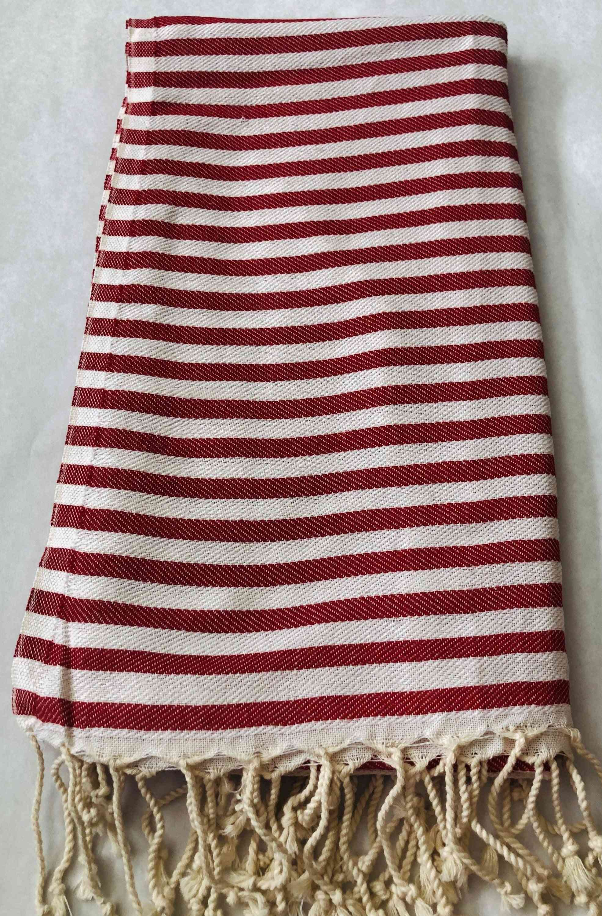 Red Striped- 100% Natural Cotton, Turkish Towel