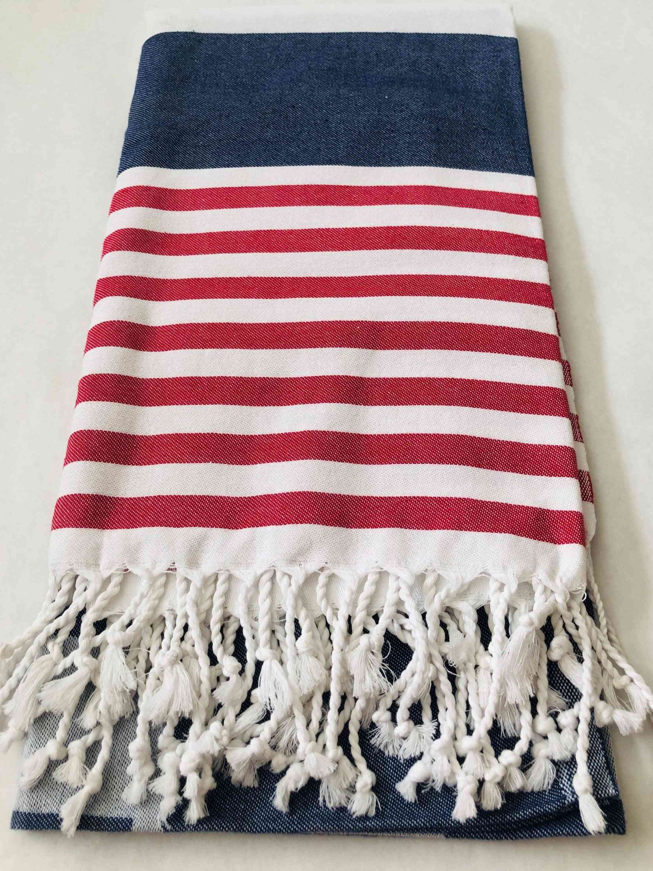 Red, White And Blue Strip- Natural Cotton Towel