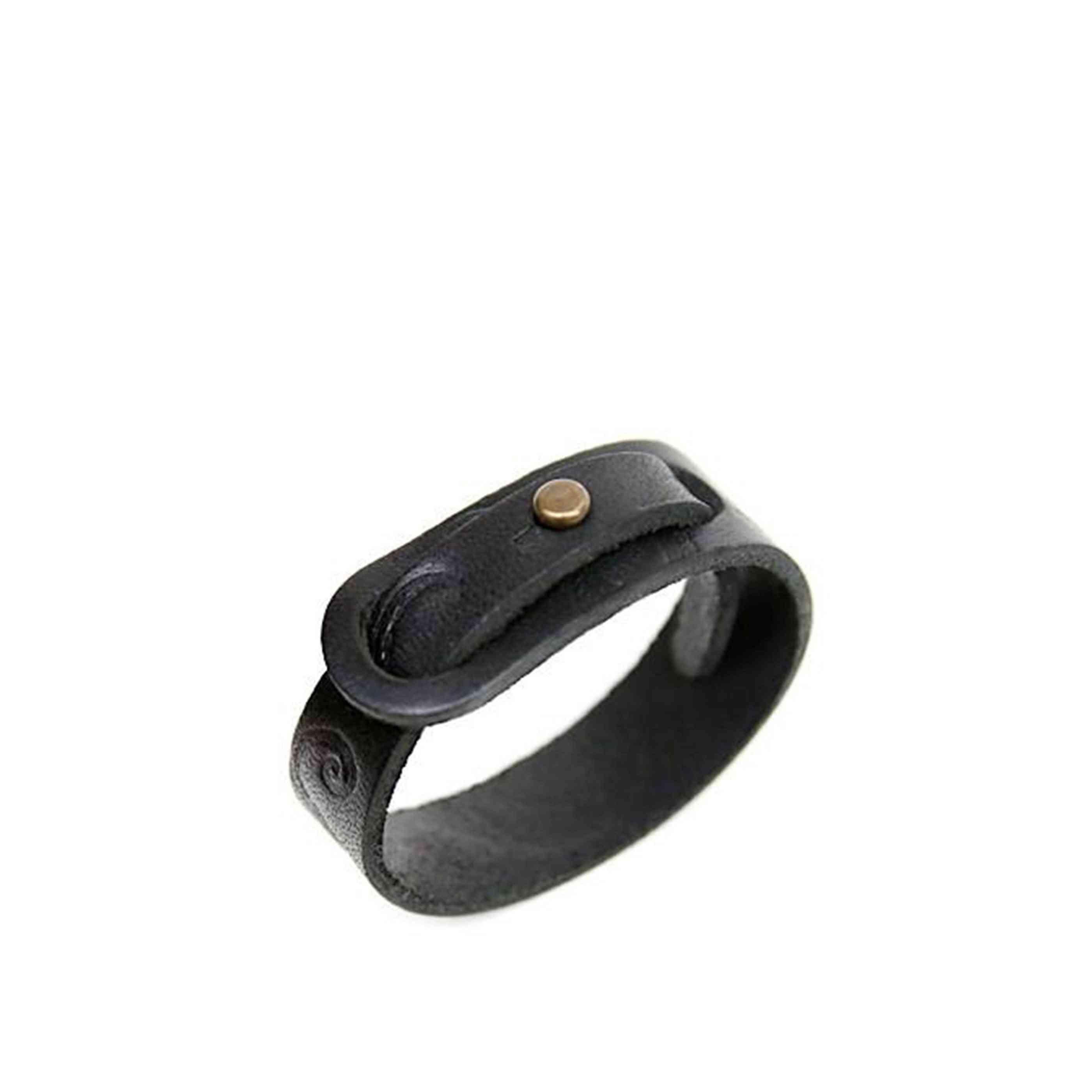 Kraken Leather Bracelet In Black