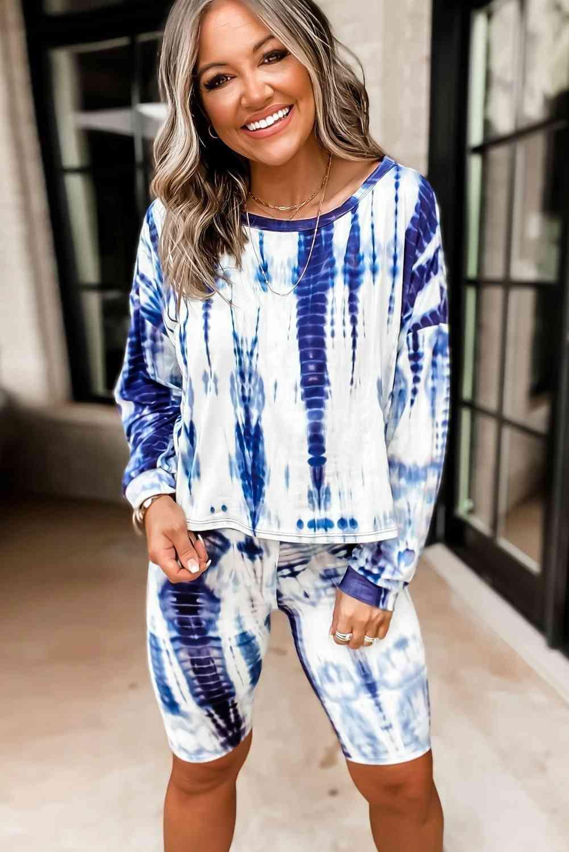 Womens Tie-dye, Long Sleeves Tops, Shorts Set