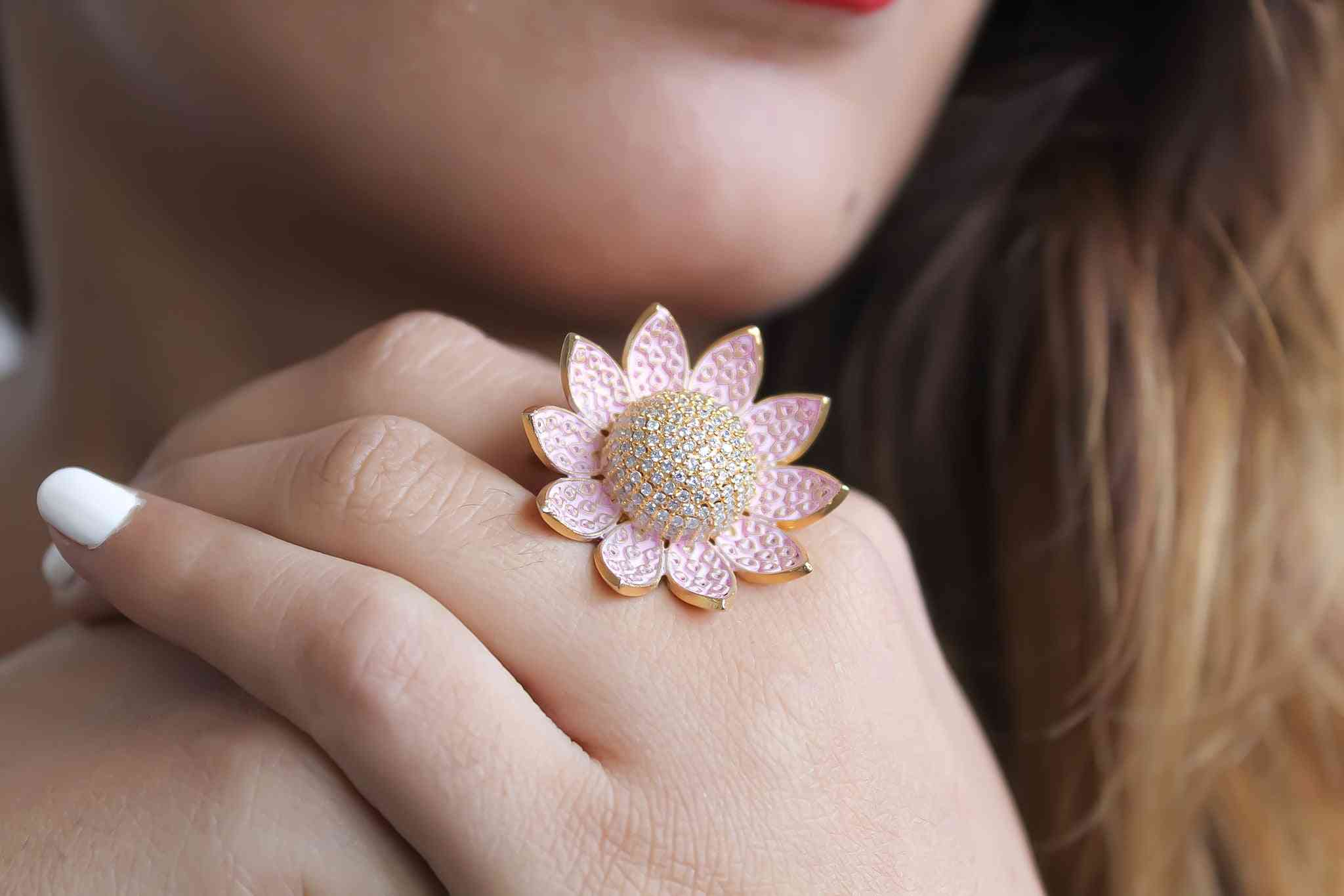 Lotus Ring With Encrusted Zircons