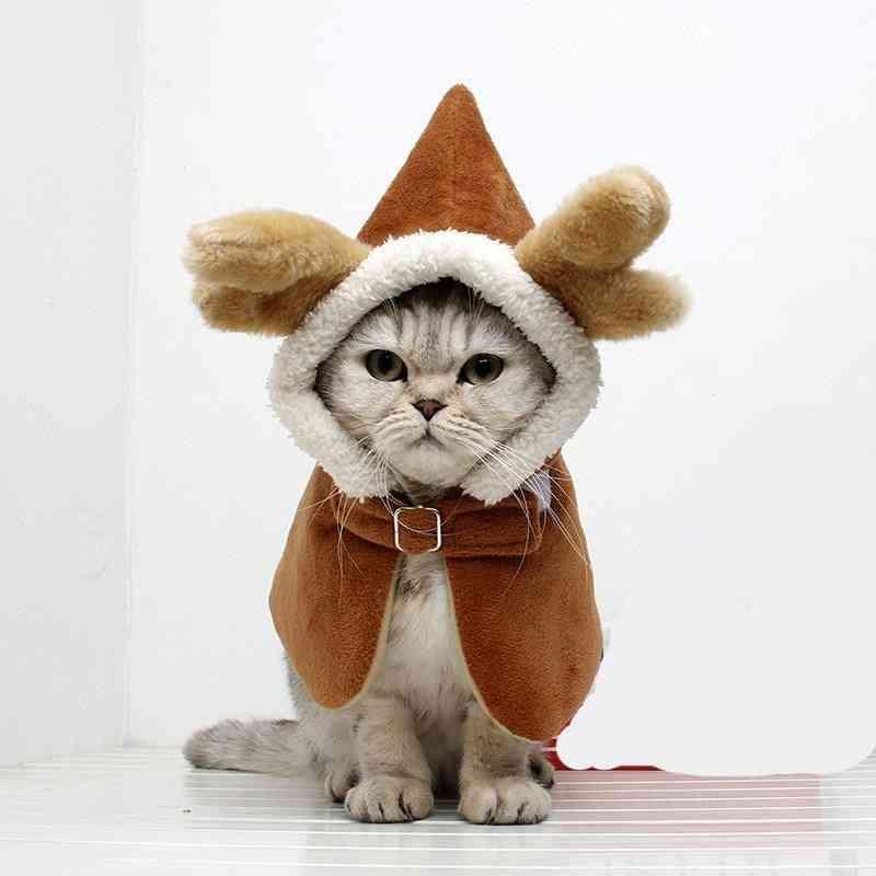 Elk Design Pet Costume, Antlers Cape Winter Cosplay Warm Coat