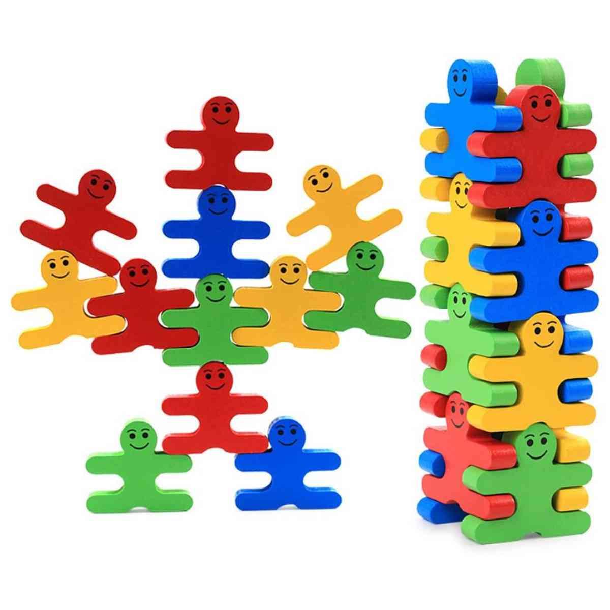 Small Cartoon Figure Style, Wooden Ballance Building Block Toy