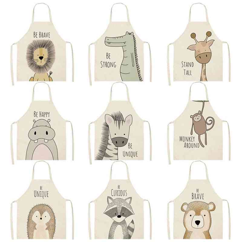 Animal Printed Cotton/linen Kitchen Cooking Aprons