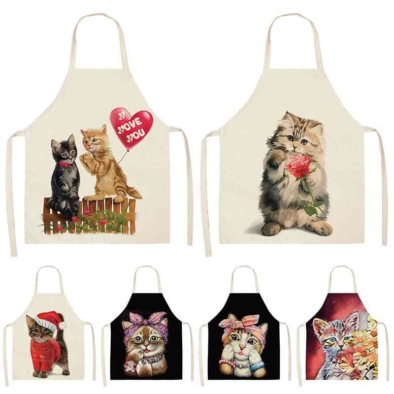 Cute Cat Printed Kitchen Aprons