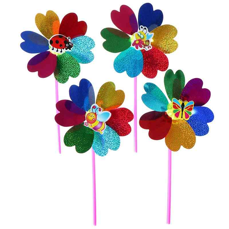 One Piece Colorful Sequins Windmill Wind Spinner Home Garden Yard Decoration Kids