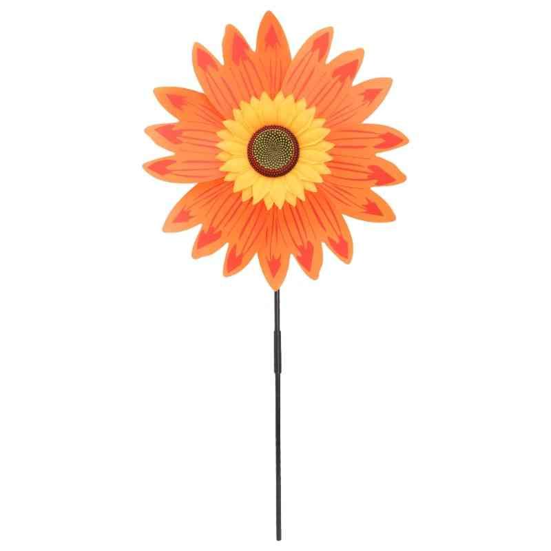 Large Double Layer Sunflower Windmill Wind Spinner Kids Yard Garden Decoration