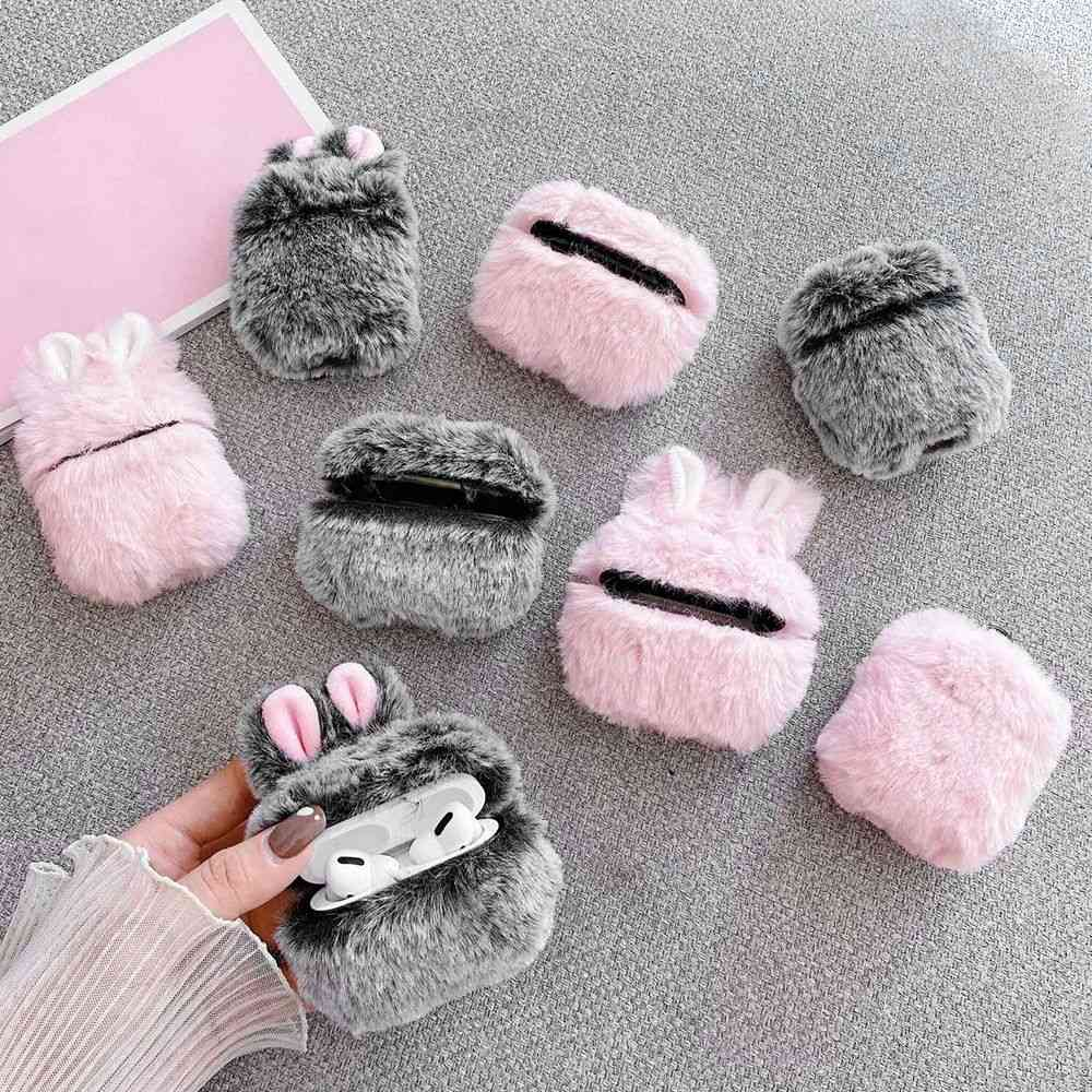 Soft Rabbit Ear Fur Case For Apple Airpods 1 2 Wireless Charging Fluffy Box