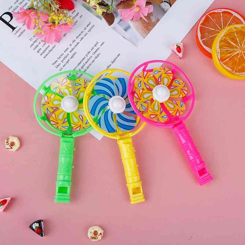 Cute Baby Kids Windmill Toy Colorful Small Plastic Whistling Handle Pinwheel Wind Spinner
