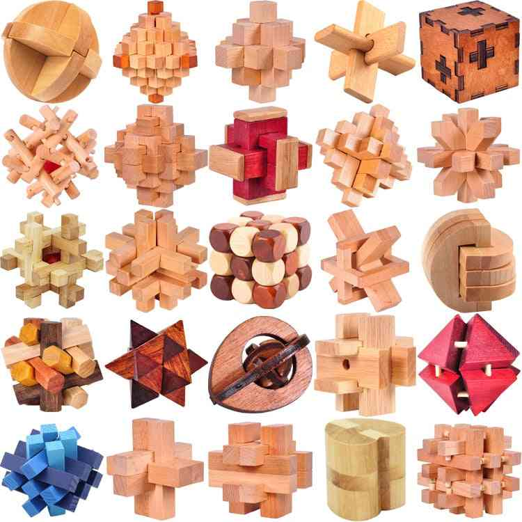 Classic Wooden Puzzle Mind Brain Teasers Burr Interlocking Puzzles Game