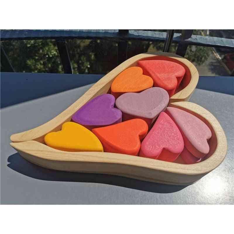 Wooden Basswood/beech Rainbow Heart Stacking Blocks Toy