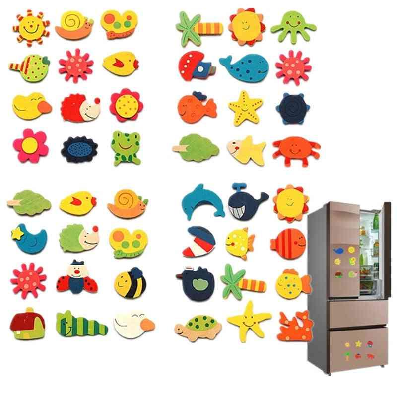 12pcs/lot Wooden Refrigerator Magnet Fridge Stickers Animal Cartoon Toy