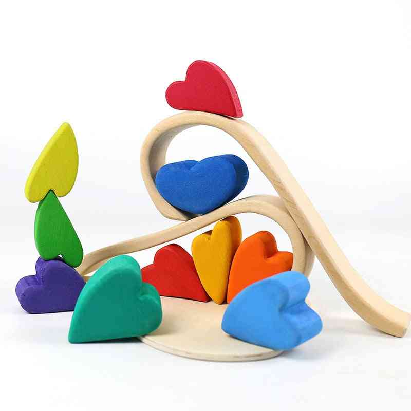 Wooden Rainbow Stacking Nordic Style Natural Wood Balance Blocks Toy