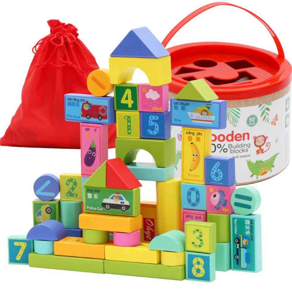 Packing Environmental Protection Paint Wooden Building Blocks Toy