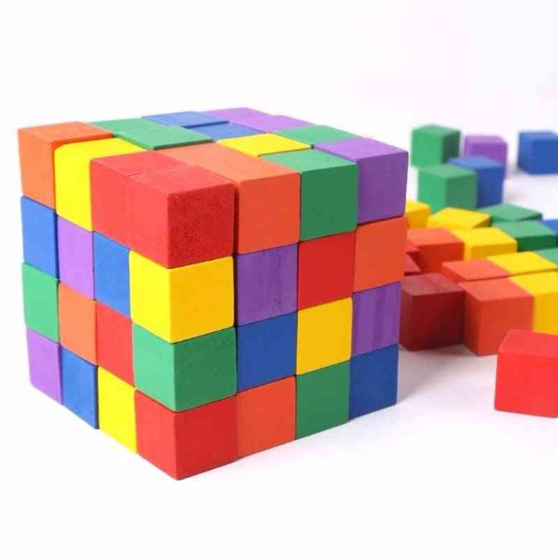 Wooden Cube Building Block Toy