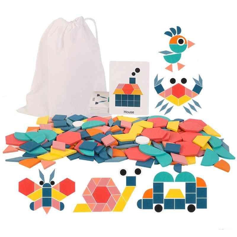 Wooden Jigsaw Block Montessori Building Blocks Educational Learning Toy