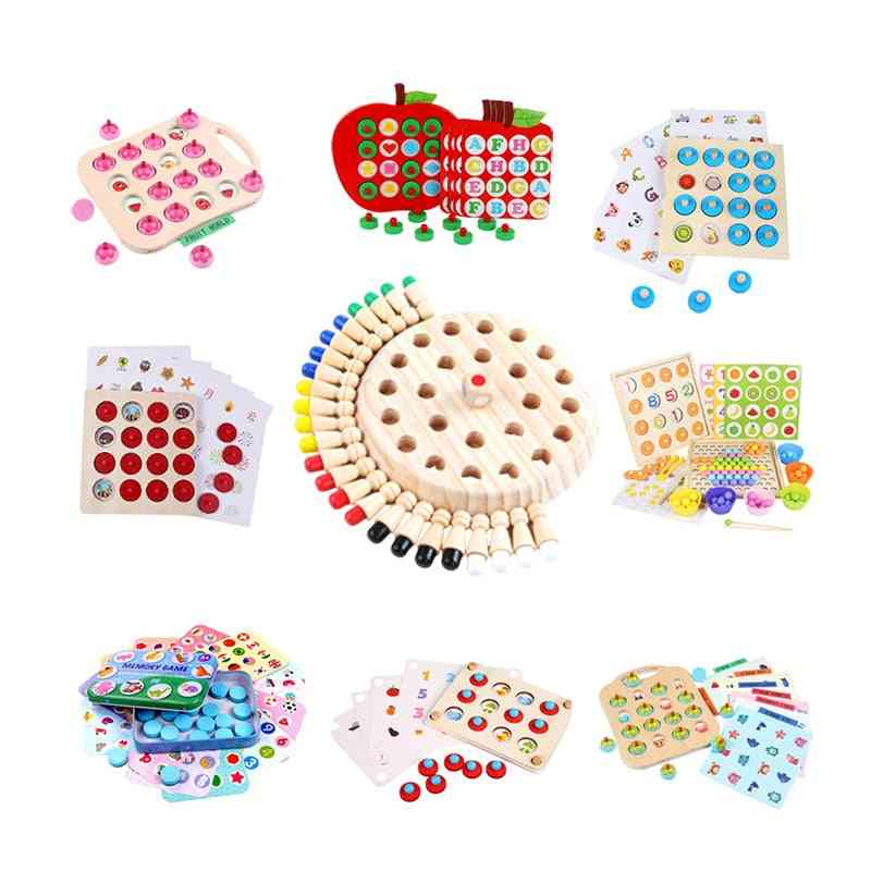 Wooden Memory Chess Game Match Stick Fun Blocks Board Educational Toy