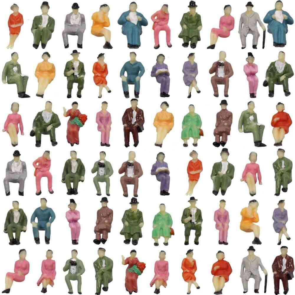 50pcs Ho Scale Seated People Figures Passengers For Train Scenes Modelling
