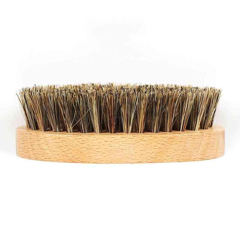 Boar Hair Bristle Men's Beard Brush, Round Wood Shaving Comb Face Massage
