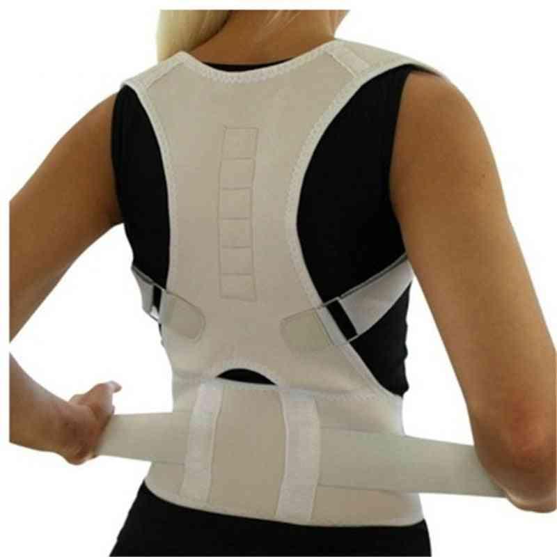 Adjustable Magnetic Posture Back Support Corrector Belt Band Brace Shoulder Lumbar Strap