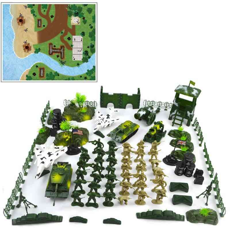 Children Diy Military Model Soldier Scene Toy Set With Map